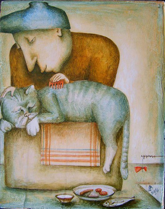 Животные ручной работы. Ярмарка Мастеров - ручная работа. Купить ...вот такие они, ...женщины!.... Handmade. Комбинированный, котик, дружба, картина в подарок