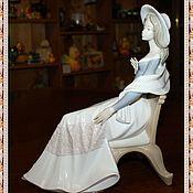 """Винтаж handmade. Livemaster - original item Красивая, большая фарфоровая статуэтка """"Дама в кресле"""" D`Art SA. Handmade."""