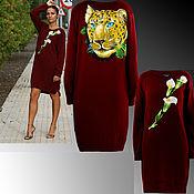 Одежда handmade. Livemaster - original item Knitted woolen women`s Burgundy dress oversize sweater with embroidery. Handmade.
