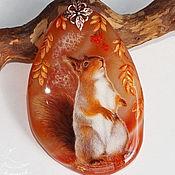 Украшения handmade. Livemaster - original item Painted pendant lacquer miniature Autumn Squirrel necklace with stone. Handmade.