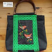 Сумки и аксессуары handmade. Livemaster - original item Classic bag: A couple of birds on a branch. Handmade.