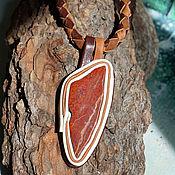Украшения handmade. Livemaster - original item Leather pendant with red Jasper (triangle). Handmade.