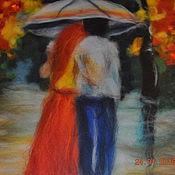 """Картины и панно ручной работы. Ярмарка Мастеров - ручная работа Шерстяная акварель """"Двое под дождем"""". Handmade."""