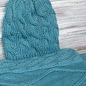 Аксессуары handmade. Livemaster - original item Set scarf and cap frost blue wool. Handmade.