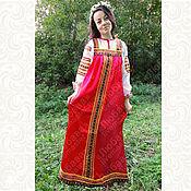 "Русский стиль handmade. Livemaster - original item Satin dress for woman and girl ""Iskra"". Handmade."