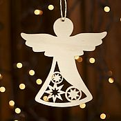 Заготовки для декупажа и росписи ручной работы. Ярмарка Мастеров - ручная работа Подвеска на ёлку Ангел из дерева. Handmade.