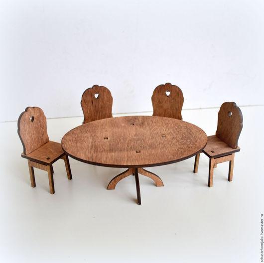Кукольный дом ручной работы. Ярмарка Мастеров - ручная работа. Купить Стол с 4 стульями для кукольного домика. Handmade. Бежевый