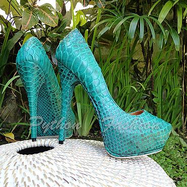 Обувь ручной работы. Ярмарка Мастеров - ручная работа Женские туфли из питона MERALIE. Handmade.