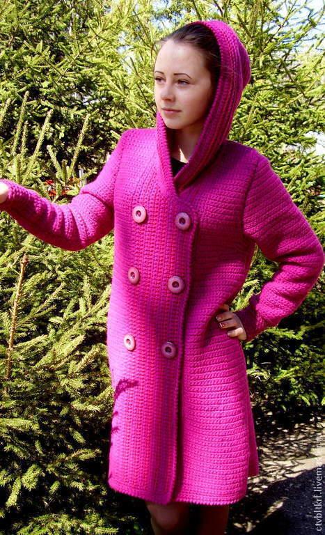 Верхняя одежда ручной работы. Ярмарка Мастеров - ручная работа. Купить Вязаное пальто «Малиновая весна». Handmade. Авторская работа