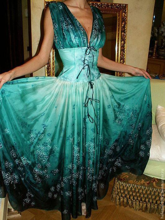 Платья ручной работы. Ярмарка Мастеров - ручная работа. Купить Платье из шифона. Handmade. Морская волна, цветочный, шифон, купон