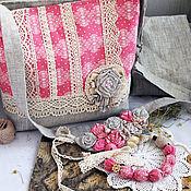 """Сумки и аксессуары ручной работы. Ярмарка Мастеров - ручная работа Cумка лен, хлопок. """"Lace on pink"""".. Handmade."""