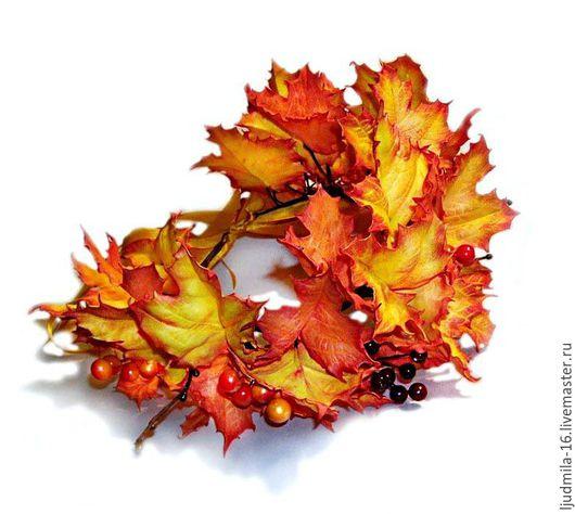 """Диадемы, обручи ручной работы. Ярмарка Мастеров - ручная работа. Купить Венок """"Осень-подружка"""". Handmade. Комбинированный, листья из фома"""