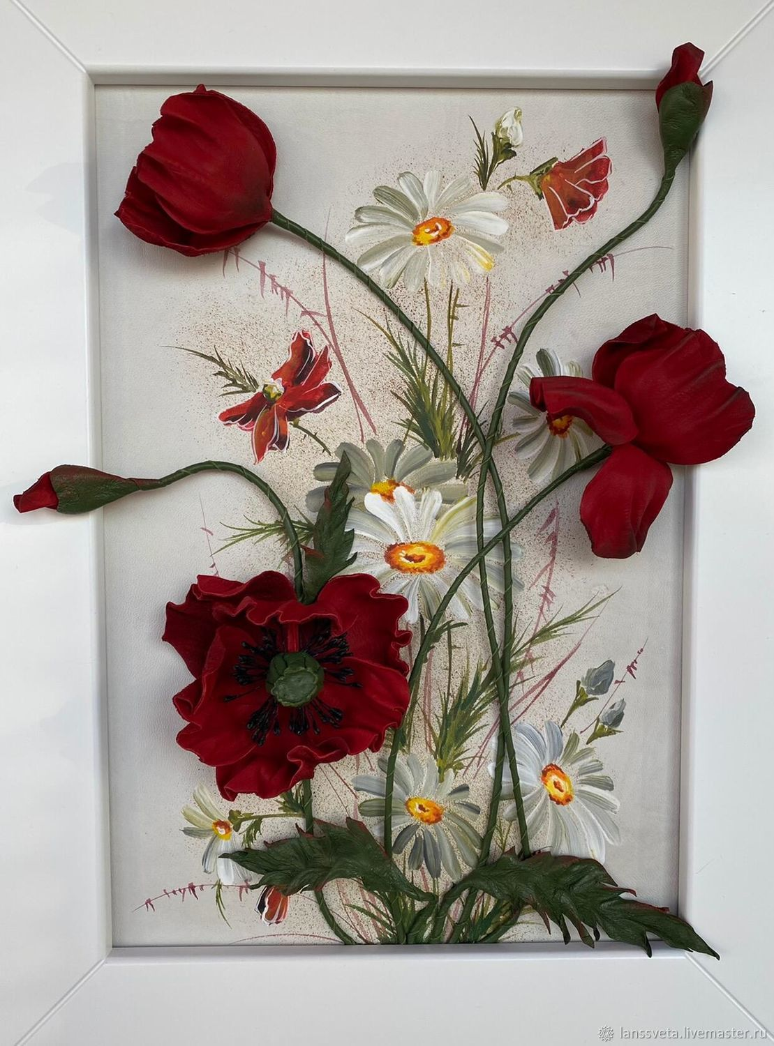 Three-dimensional painting of Poppies and chamomile leather. Picture of skin, Pictures, Bobruisk,  Фото №1