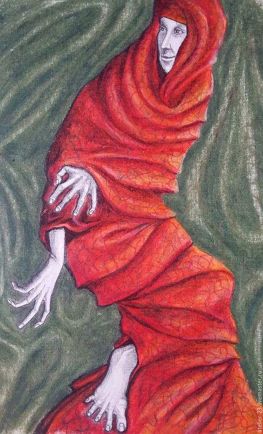 Фэнтези ручной работы. Ярмарка Мастеров - ручная работа. Купить картина Танцы. Handmade. Ярко-красный, зеленый, заки, танец