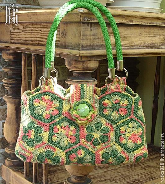 Женские сумки ручной работы. Ярмарка Мастеров - ручная работа. Купить Вязаная сумочка из африканских мотивов 28 х 15 см. Handmade.