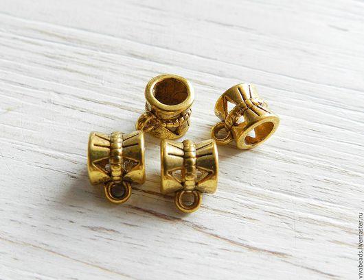 Бейлы для подвесок и кулонов, размер 10*7*7 мм, внутренний диаметр 4 мм, цвет античное золото (арт. 2211)