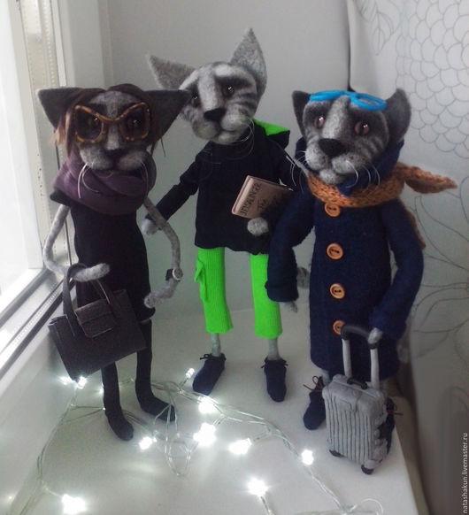 Игрушки животные, ручной работы. Ярмарка Мастеров - ручная работа. Купить Кошачья семья, интерьерная композиция, оригинальный подарок. Handmade.