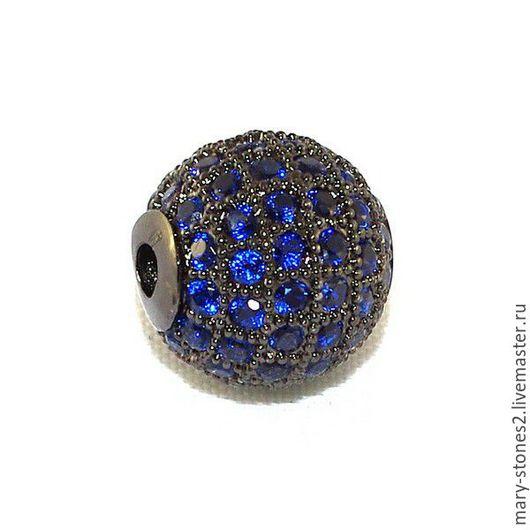 Для украшений ручной работы. Ярмарка Мастеров - ручная работа. Купить Бусина шар 12мм с синими фианитами черная (Milano). Handmade.