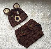 Работы для детей, ручной работы. Ярмарка Мастеров - ручная работа Костюм для фотосессии новорожденных Мишка. Handmade.