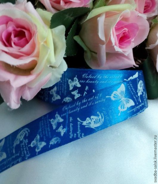 Шитье ручной работы. Ярмарка Мастеров - ручная работа. Купить Лента атласная синяя/бабочки (25 мм). Handmade. Атласная лента