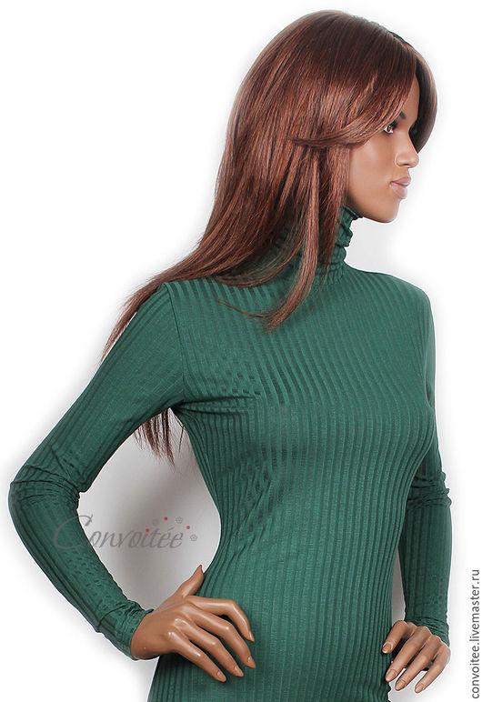 """Кофты и свитера ручной работы. Ярмарка Мастеров - ручная работа. Купить Водолазка """"лапша"""" /темно-зеленый. Handmade. Тёмно-зелёный"""