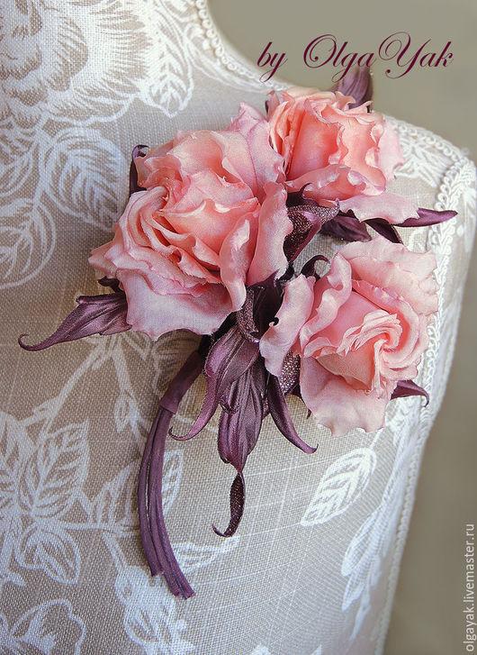 Броши ручной работы. Ярмарка Мастеров - ручная работа. Купить Цветы из ткани. Цветы из шелка. Букетик-брошь Розовый шоколад. Handmade.