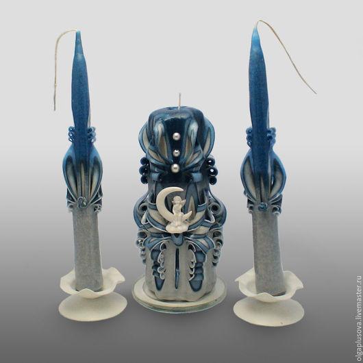 Свадебные аксессуары ручной работы. Ярмарка Мастеров - ручная работа. Купить резные свечи Свадебный очаг Ночной ангел. Handmade.