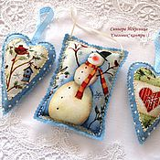 Подарки к праздникам handmade. Livemaster - original item christmas decorations 3 pieces of felt and fabric