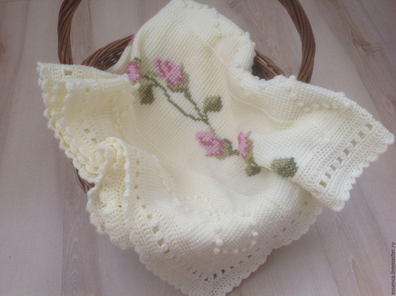 Вязание тунисского пледа с вышивкой