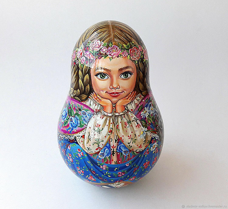 Красивая девочка с косичками расписная неваляшка авторская игрушка, Портретная кукла, Рязань,  Фото №1