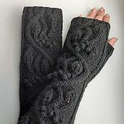 Аксессуары handmade. Livemaster - original item Fingerless gloves long knitted vine, black W1. Handmade.