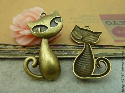 Для украшений ручной работы. Ярмарка Мастеров - ручная работа. Купить 5 шт металлические подвески бронзовую кот C4590. Handmade.