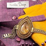 Блузки ручной работы. Ярмарка Мастеров - ручная работа Блузка на широкой кокетке лен фиолетовый меланж. Handmade.