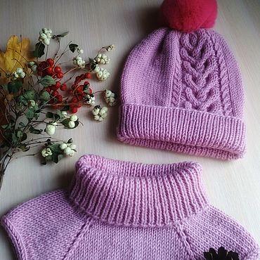 Товары для малышей ручной работы. Ярмарка Мастеров - ручная работа Комплект шапка и манишка. Handmade.