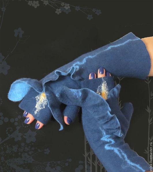 Варежки, митенки, перчатки ручной работы. Ярмарка Мастеров - ручная работа. Купить Валяные митенки Ирис. Handmade. Митенки