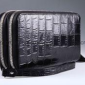 Сумки и аксессуары handmade. Livemaster - original item Clutch bag in crocodile leather with two zippers IMA0002B44. Handmade.