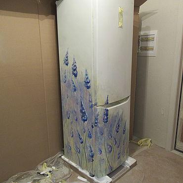 Дизайн и реклама ручной работы. Ярмарка Мастеров - ручная работа Декор: Роспись холодильника Цветы. Handmade.