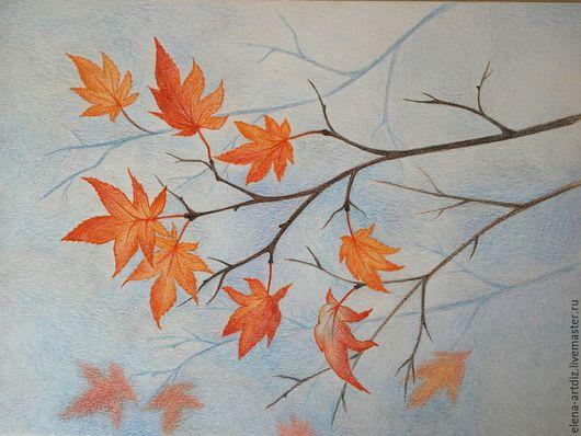 Пейзаж ручной работы. Ярмарка Мастеров - ручная работа. Купить Скоро зима - рисунок цветными карандашами. Handmade. Комбинированный