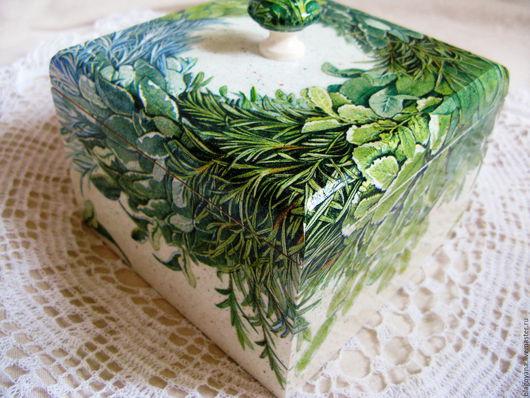 Кухня ручной работы. Ярмарка Мастеров - ручная работа. Купить Короб из массива березы Прованский букет. Handmade. Зеленый