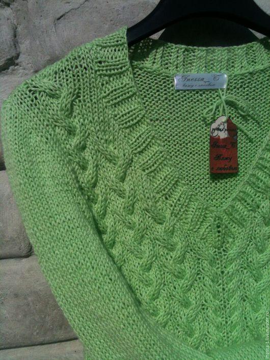 Inessa_T Вяжу с любовью Фисташковый вязаный пуловер