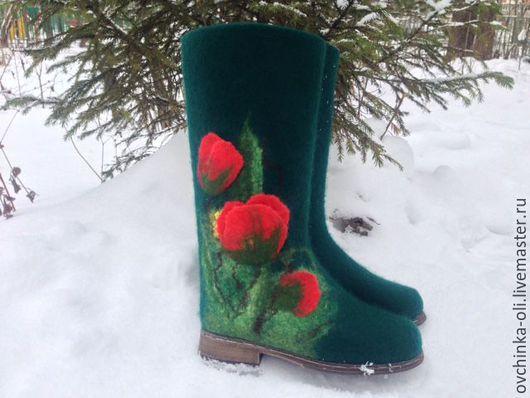 Обувь ручной работы. Ярмарка Мастеров - ручная работа. Купить Сапожки валяные. Handmade. Тёмно-зелёный, сапожки зимние