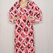Одежда ручной работы. Ярмарка Мастеров - ручная работа Длинное платье кимоно,платье в пол,белые ромбы. Handmade.