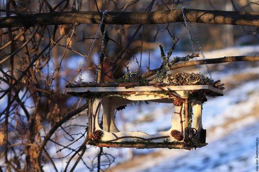 Экстерьер и дача ручной работы. Ярмарка Мастеров - ручная работа. Купить Кормушка для птиц от Лешего. Handmade. Комбинированный, для сада