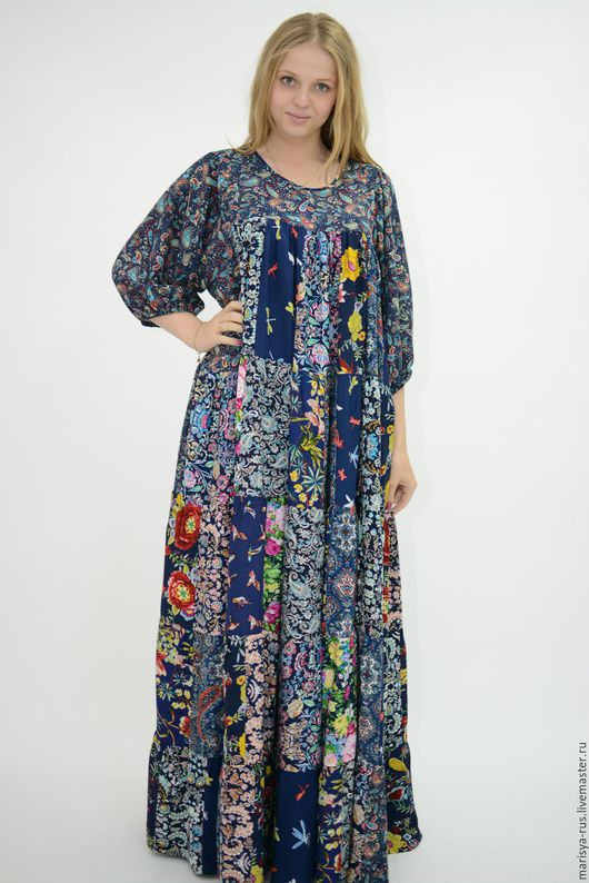 """Платья ручной работы. Ярмарка Мастеров - ручная работа. Купить Лоскутное платье """"Зазеркалье"""". Handmade. Тёмно-синий, платье летнее"""