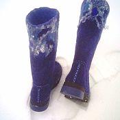 Обувь ручной работы. Ярмарка Мастеров - ручная работа Валенки на подошве,,Королевский синий``. Handmade.