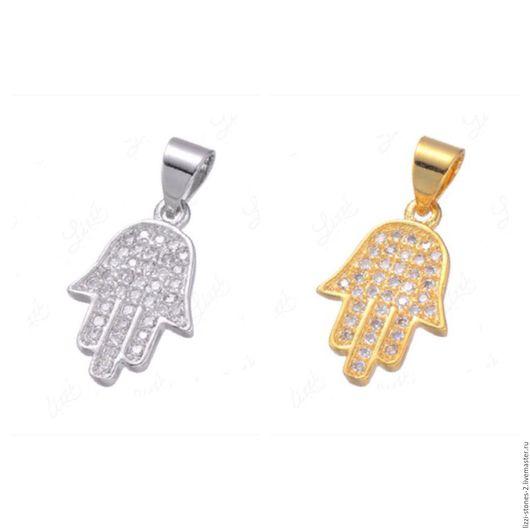 Подвеска Хамса серебро и золото (Milano) Евгения (Lizzi-stones-2)