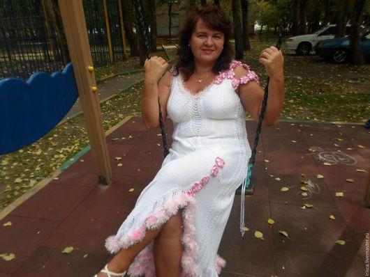 """Платья ручной работы. Ярмарка Мастеров - ручная работа. Купить Белое вязаное платье """"Сакура"""" по идеям Зои Вулвич. Handmade."""