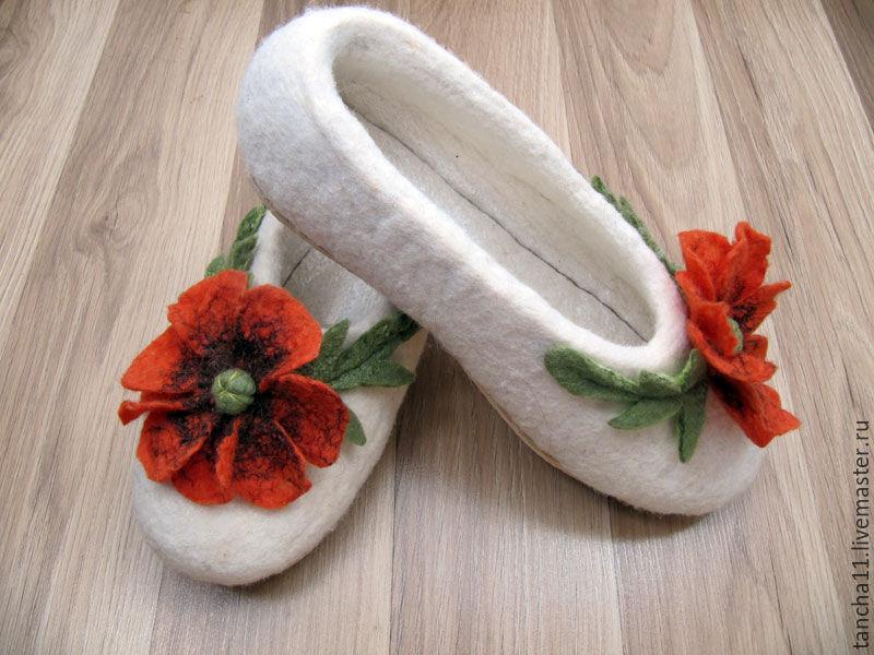 Войлочные тапочки `Маковые`, купить войлочные тапочки `Маковые`, Войлочные тапочки на заказ, войлочные тапочки в Ижевске, войлок в Ижевске