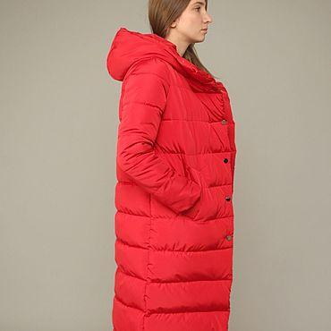 Одежда ручной работы. Ярмарка Мастеров - ручная работа Пуховик Пальто Красный. Handmade.