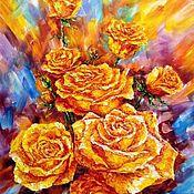 """Картины и панно handmade. Livemaster - original item Картина маслом """"Розы"""". холст цветы розы. Handmade."""